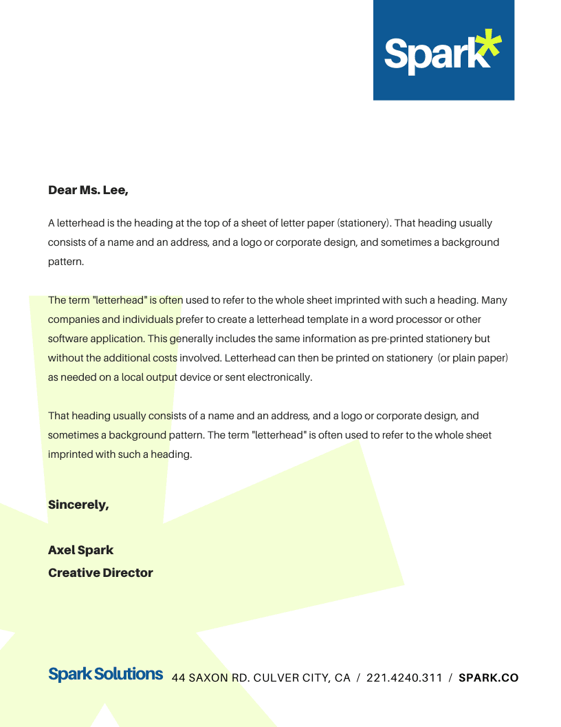 Print business letterhead - Corporate Company Business Letterhead