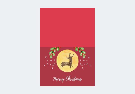 Red Minimalist Christmas Folded Card