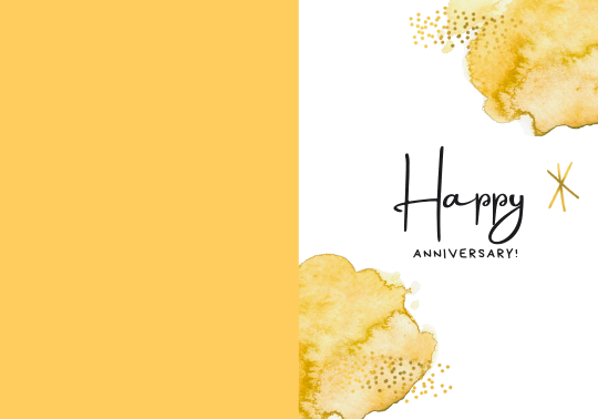 Yellow Simple Anniversary Folded Card