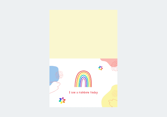Rainbow Just Because Folded Card