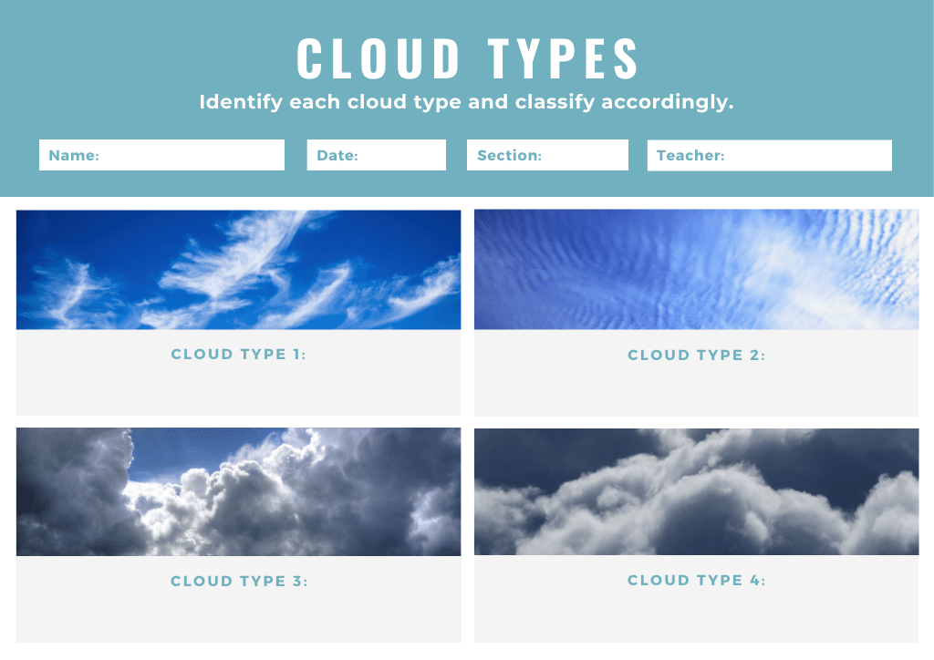Blue header with cloud classification graphic organizer