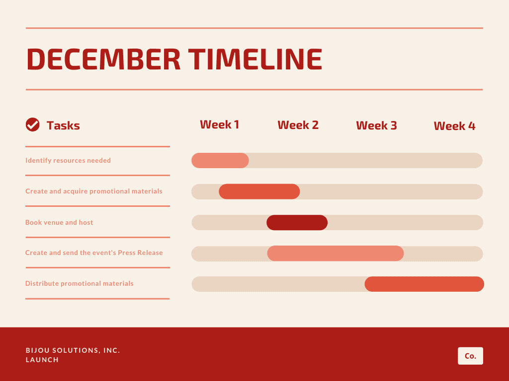 Orange red simple gantt charts