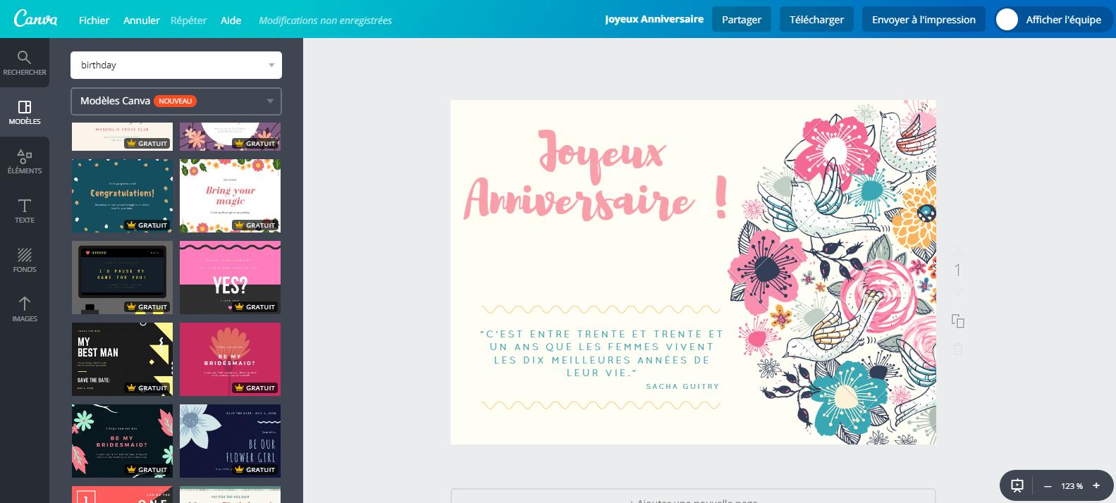Cartes Virtuelles Anniversaire De Femme De 700 Canva