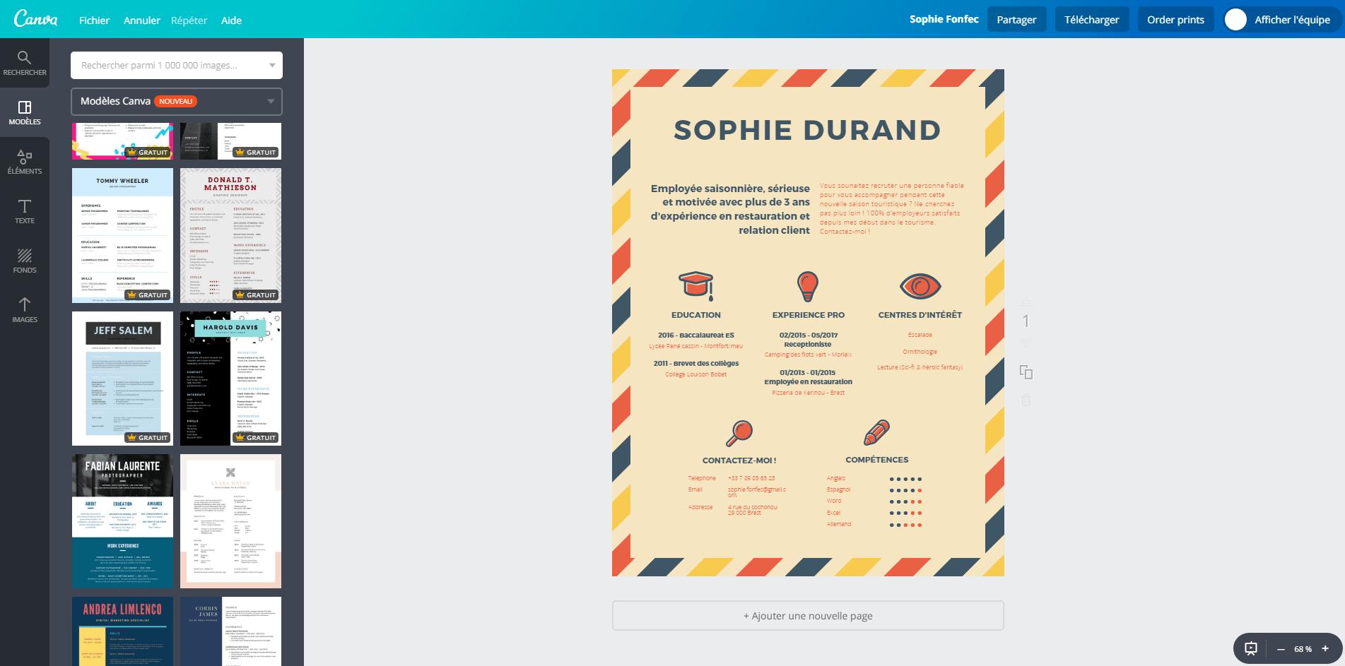 CV pour un job d'été