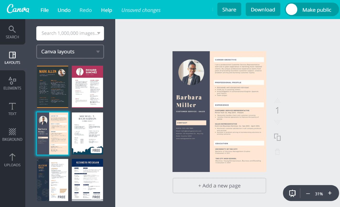 Creative Resume Maker Online Free from static-cse.canva.com