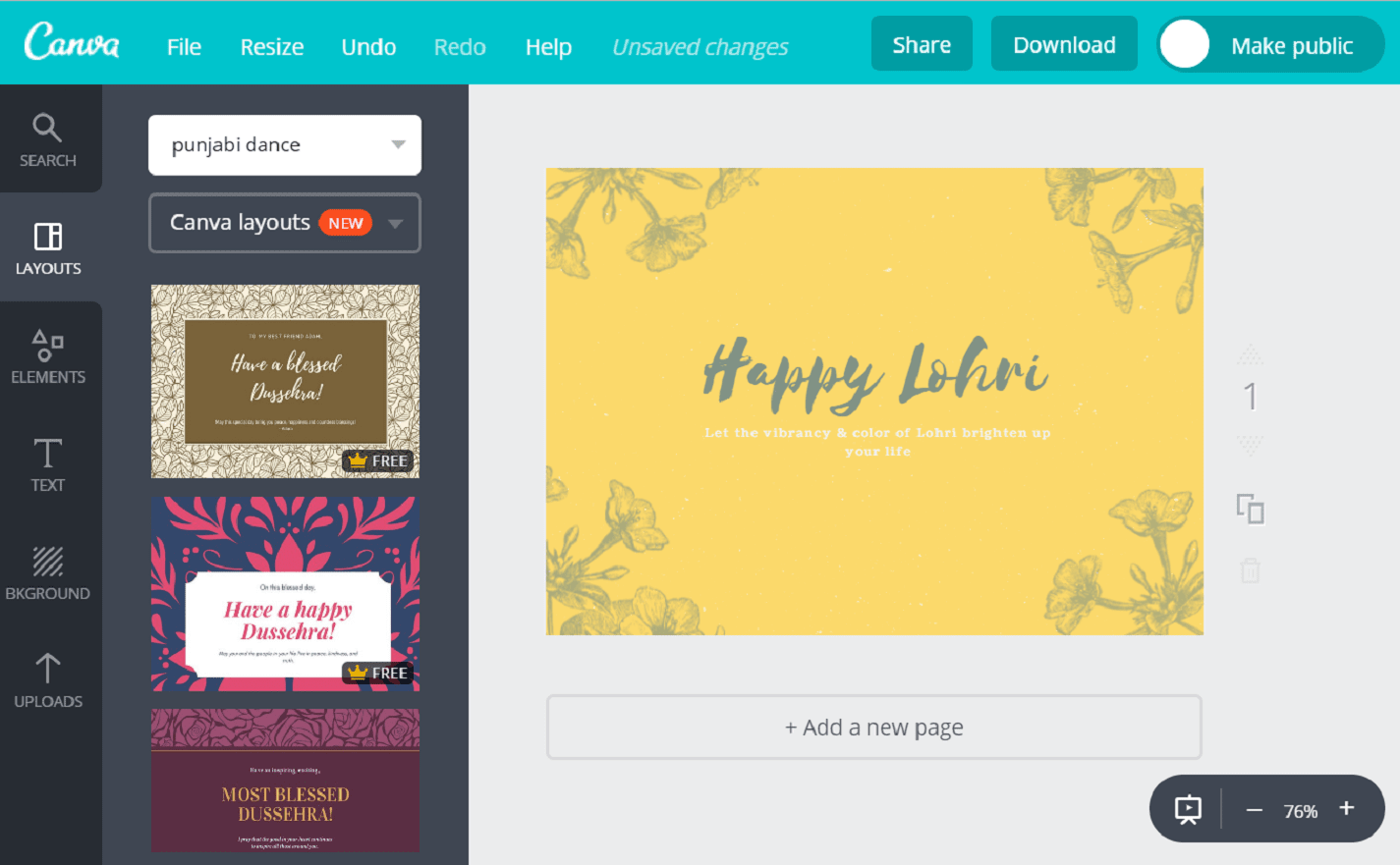 Make Custom Lohri Cards Online For Free With Canva
