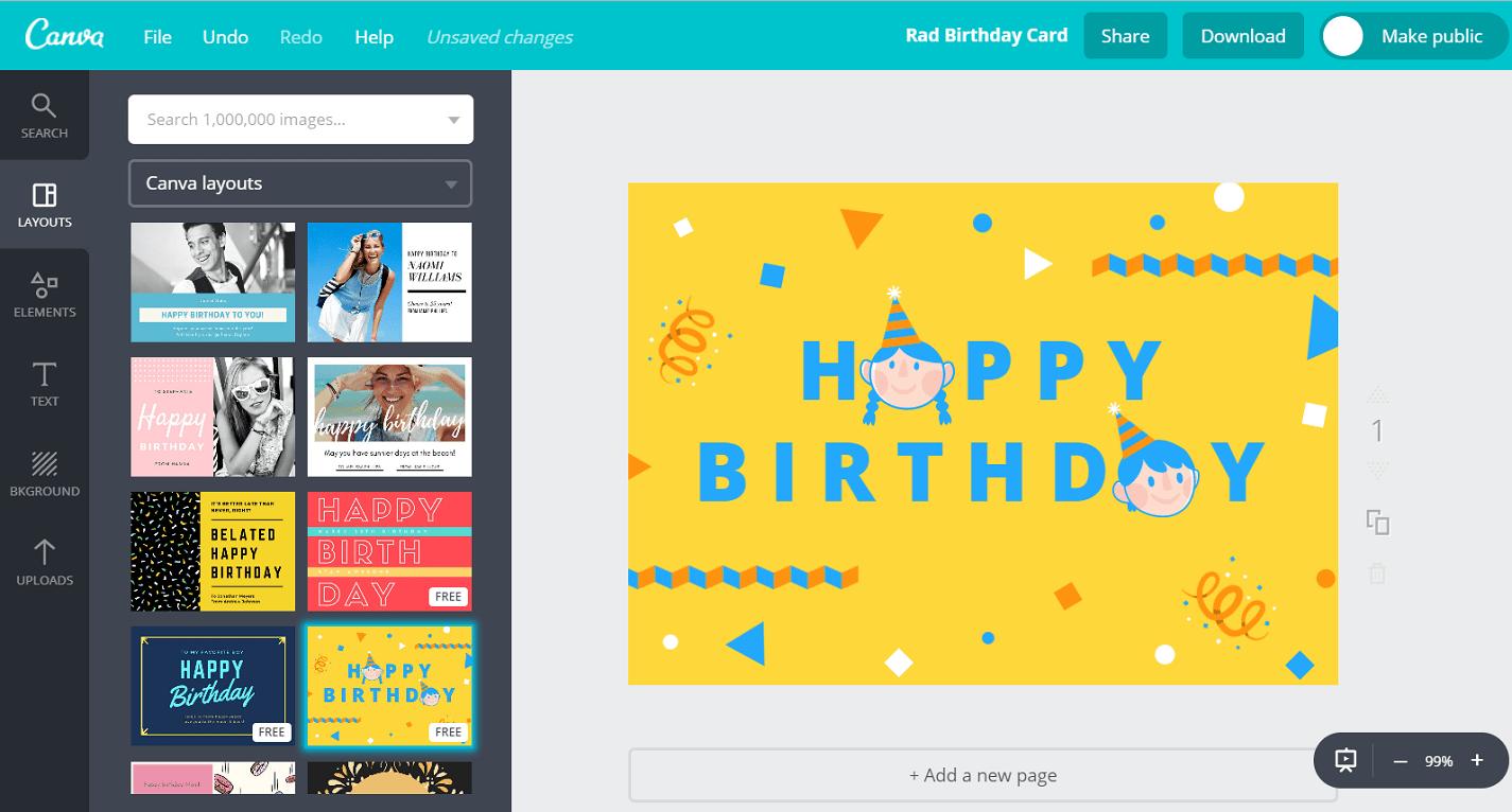 Free Birthday Greeting Card Maker Add Photo Name Canva
