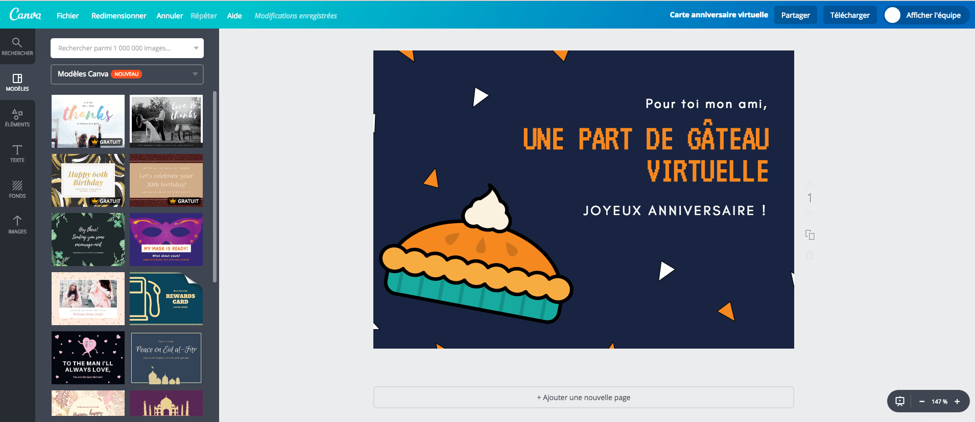 Carte d'anniversaire virtuelle