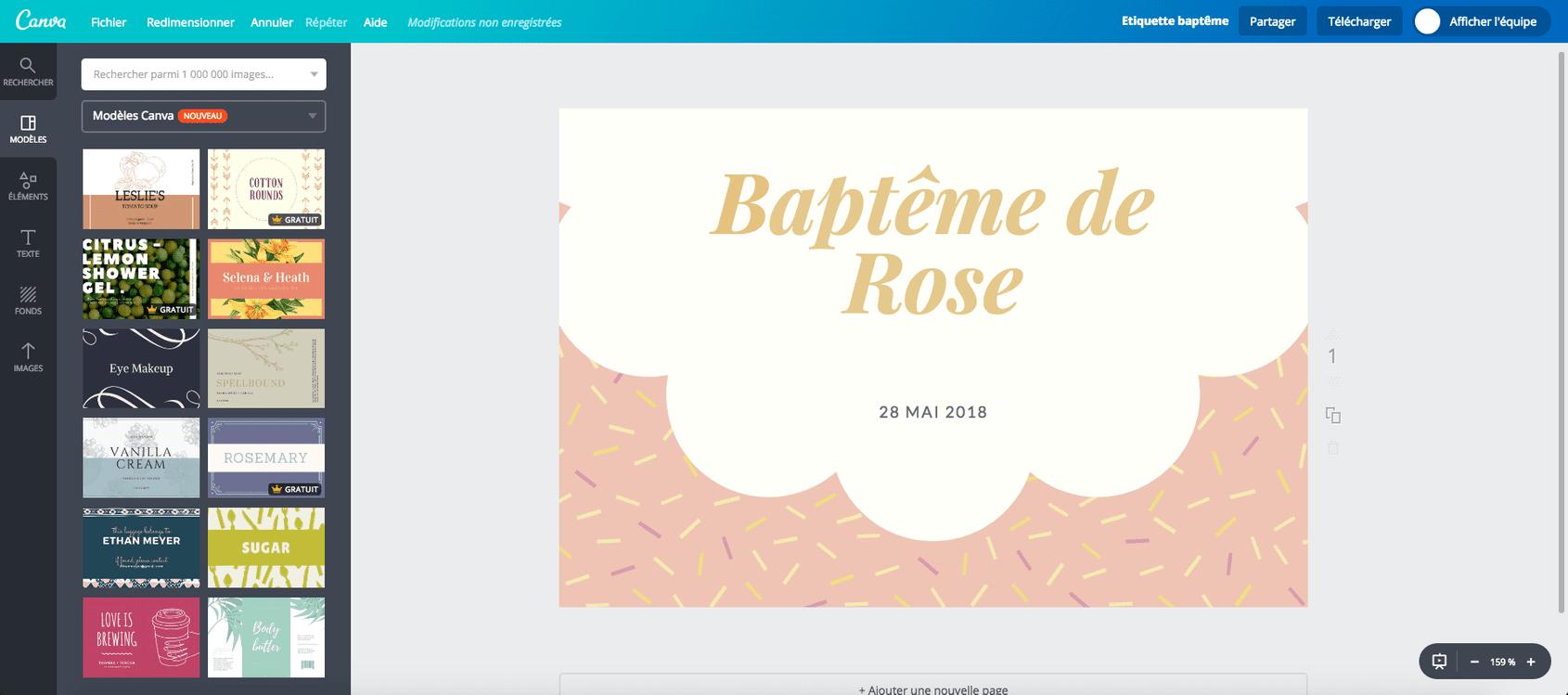 Surréaliste Étiquettes de baptême & dragées à imprimer gratuitement - Canva GS-79