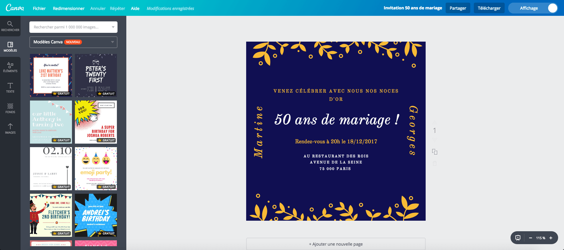 Creer Une Carte De 50 Ans De Mariage Gratuite A Imprimer Canva