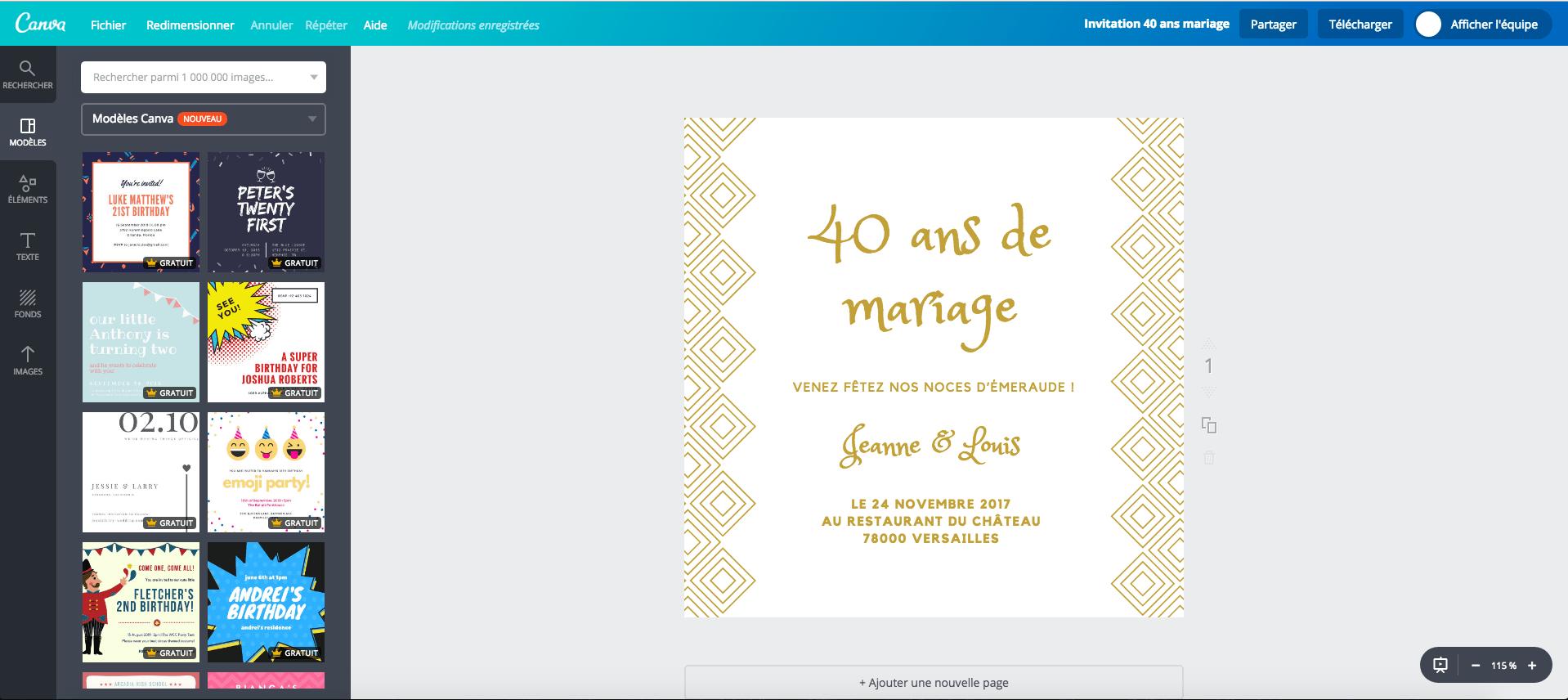 Cartes de 40 ans de mariage