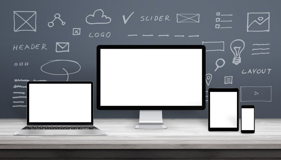 Responsive web design mockup with computer display, laptop, tablet and smart phone. Isolated screens for app, or web site promotion. Web site parts sketches on wall.