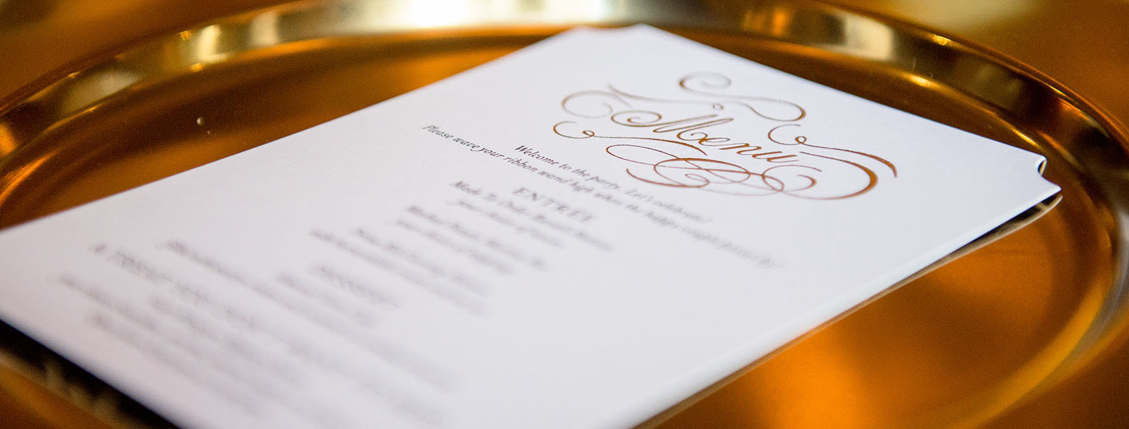 BANNER Canva - White Printed Menu on Gold Tray