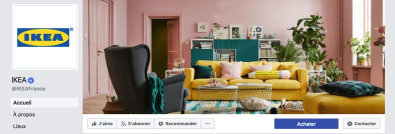 canva - facebook - marketing Une des couvertures facebook de la marque Ikéa