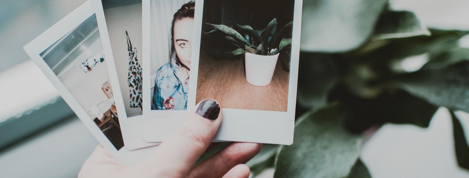 Hand, die Polaroids hält: PNG, JPG oder GIF - welches Format für Bilder verwenden