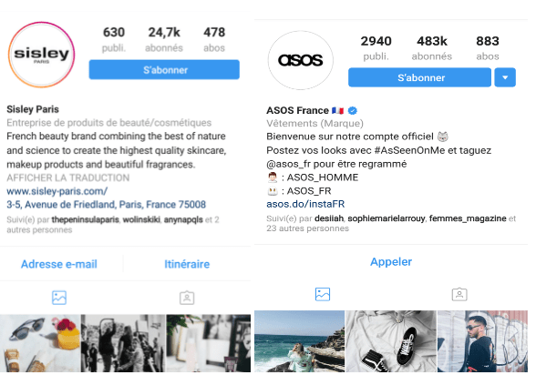 canva visibilite instagram sisley asos
