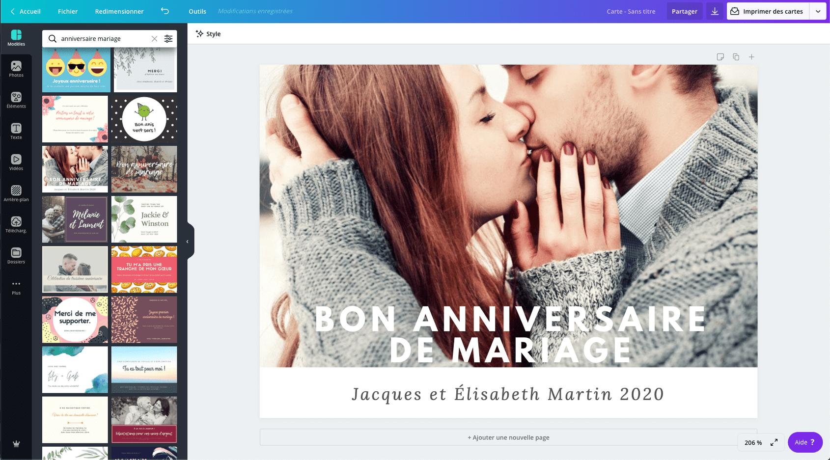 Carte D Anniversaire De Mariage Gratuite A Imprimer 100 Modeles Canva