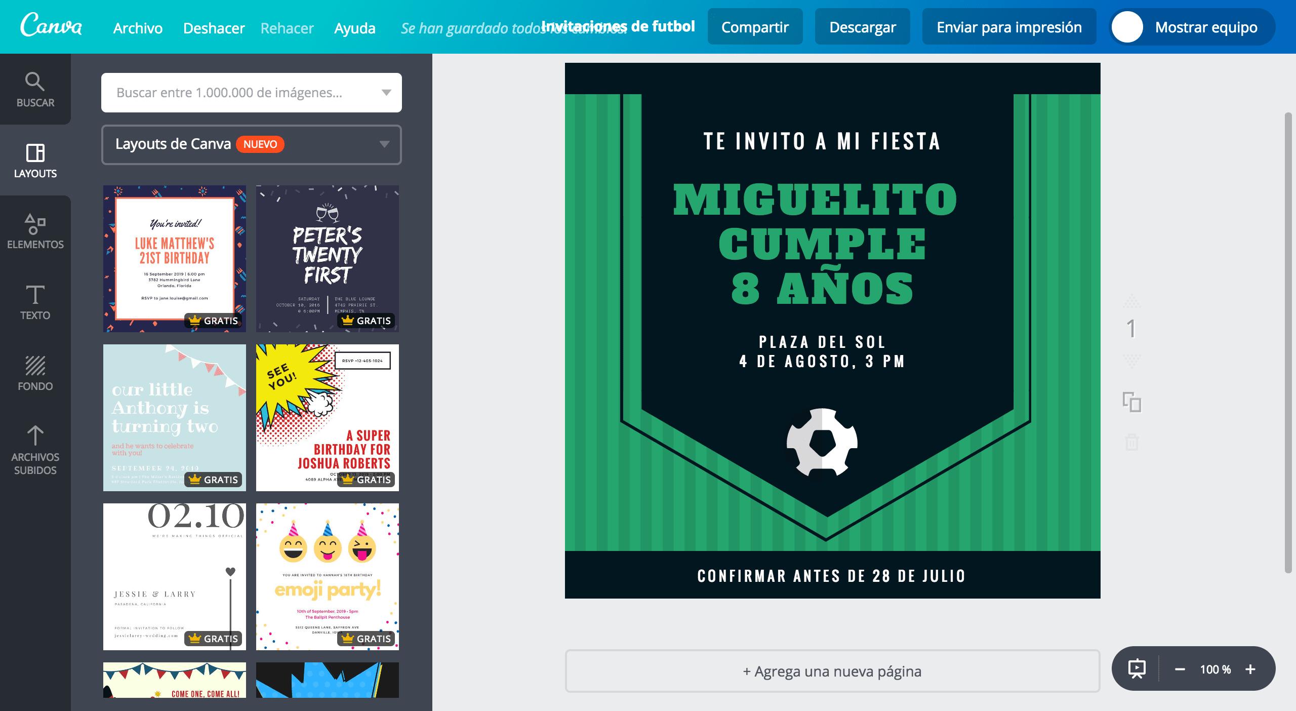Invitaciones de fútbol