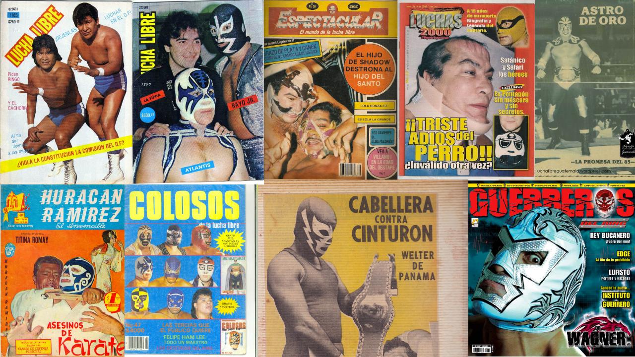 Portadas de las algunas revistas de lucha libre