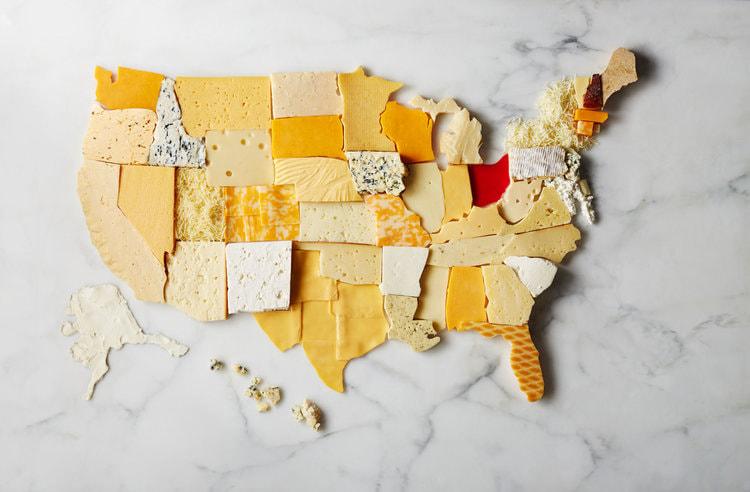 Mapa de Estados Unidos con queso, por Victoria Granof