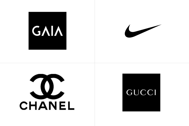 Logos de Gaia, Nike, Chanel y Gucci