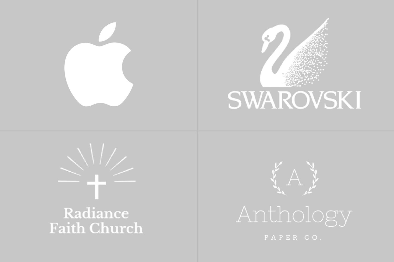 Logo de Apple, Swarovski, Radiance Faith Church y Anthology