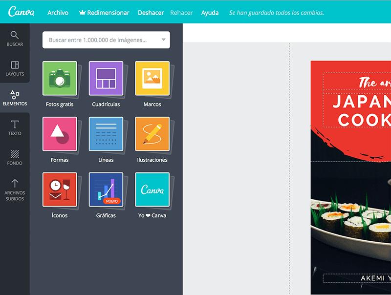 Puedes agregar fotos, retículas, formas, bordes, etc.