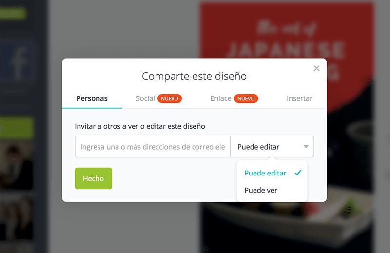 En Canva, puedes compartir tu diseño con tus colaboradores o en tus redes sociales