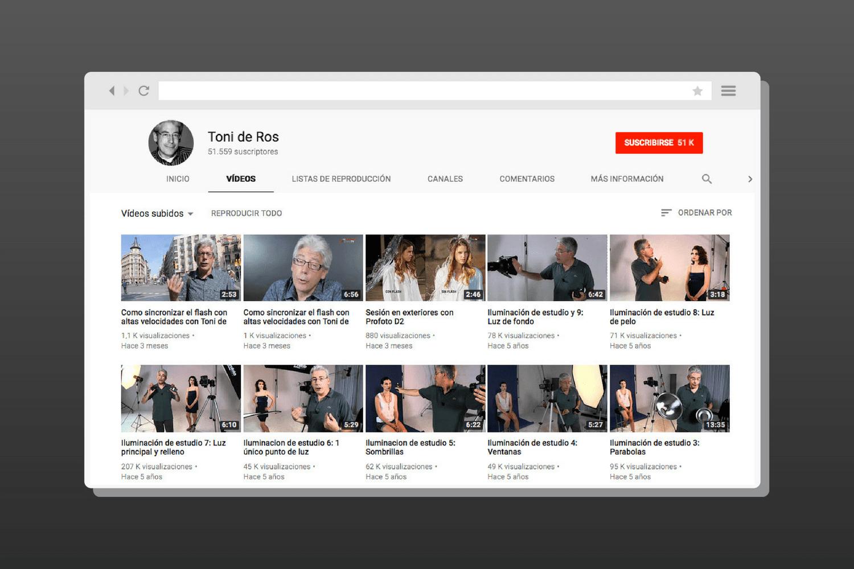 Canal de YouTube con cursos de fotografía de Toni de Ros