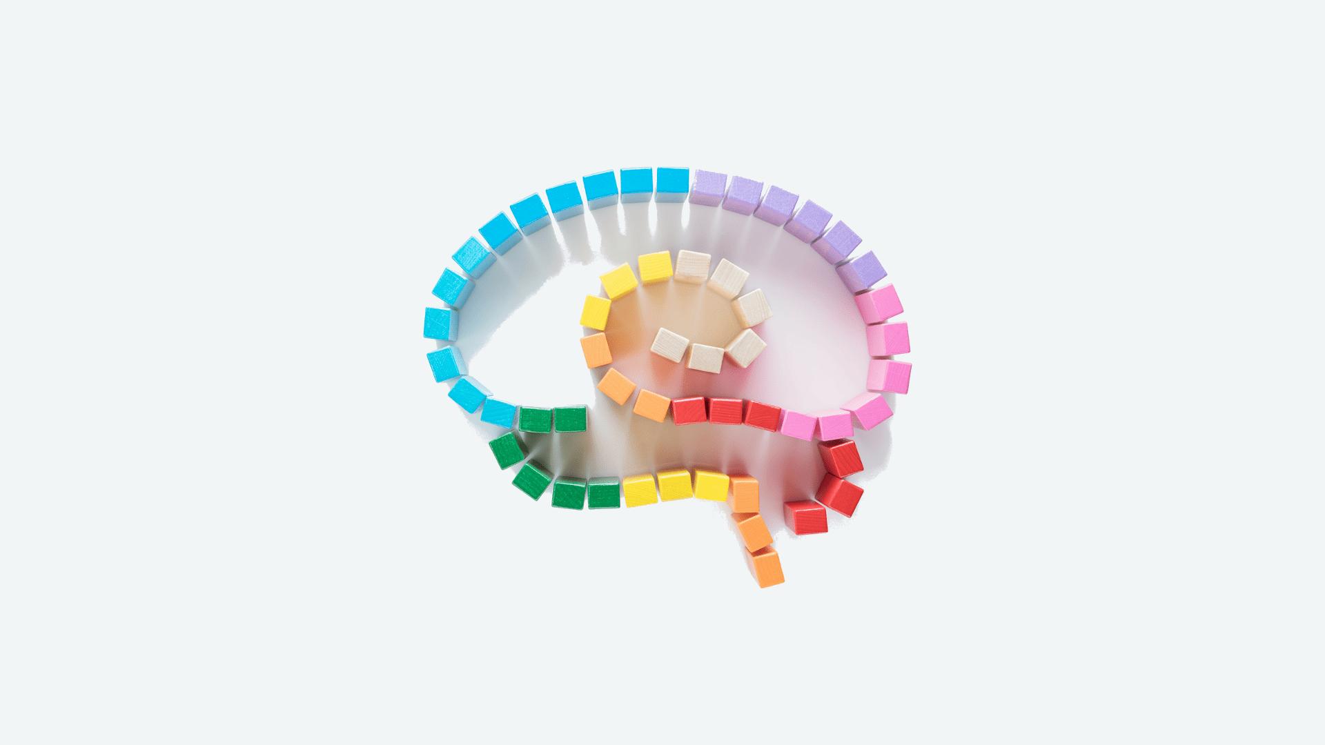 Cerebro con bloques de madera