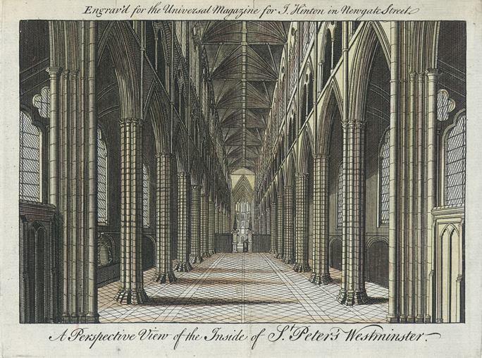 Vista de perspectiva del interior de St. Peter's Westminster