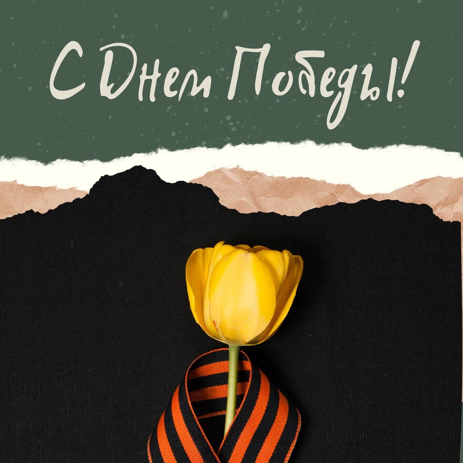 Публикация в Instagram ко Дню победы с желтым тюльпаном и Георгиевской лентой