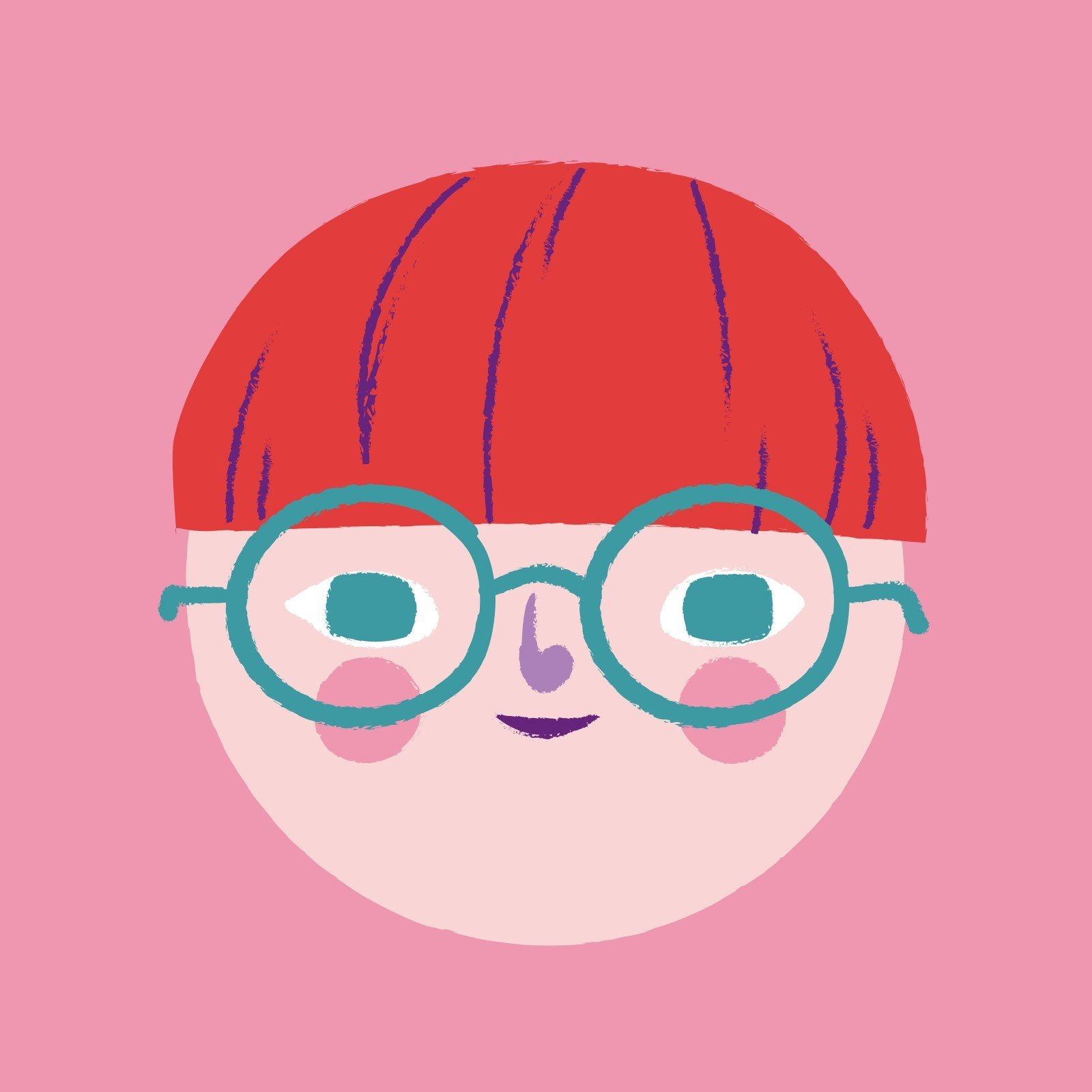 Red and Pink Cute Woman Face Circle Laptop Sticker