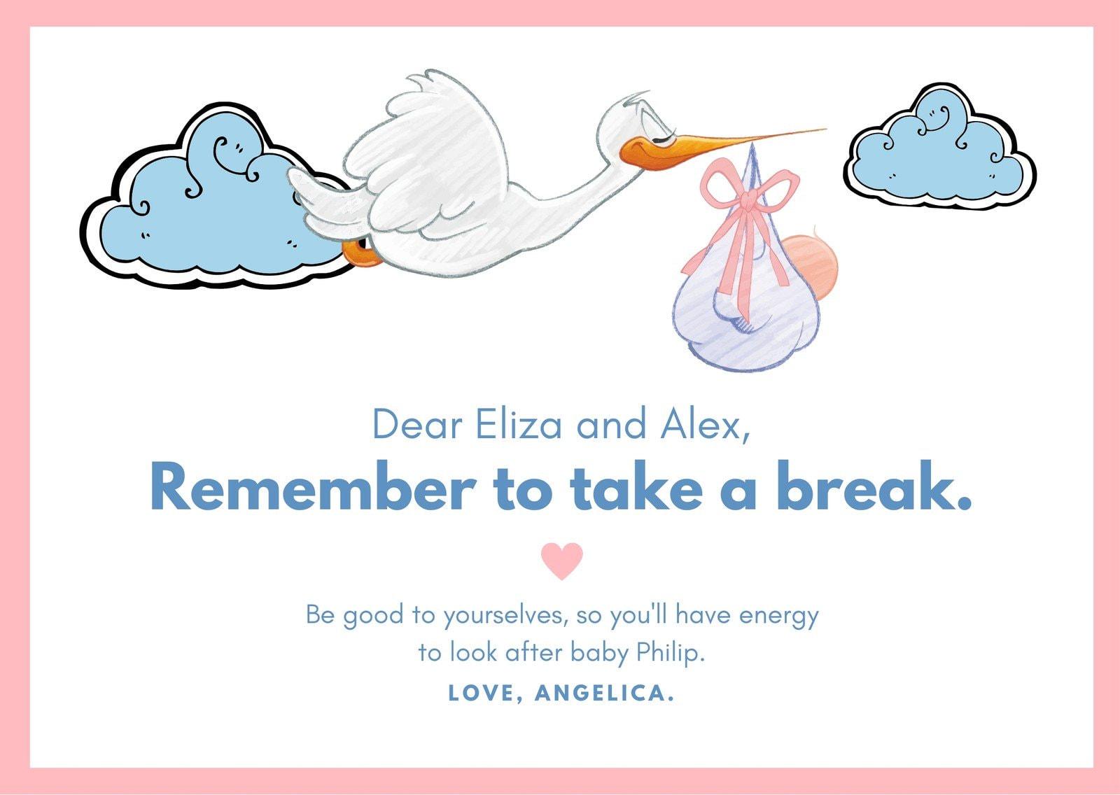 White Stork & Baby Illustration Baby Shower Advice Card