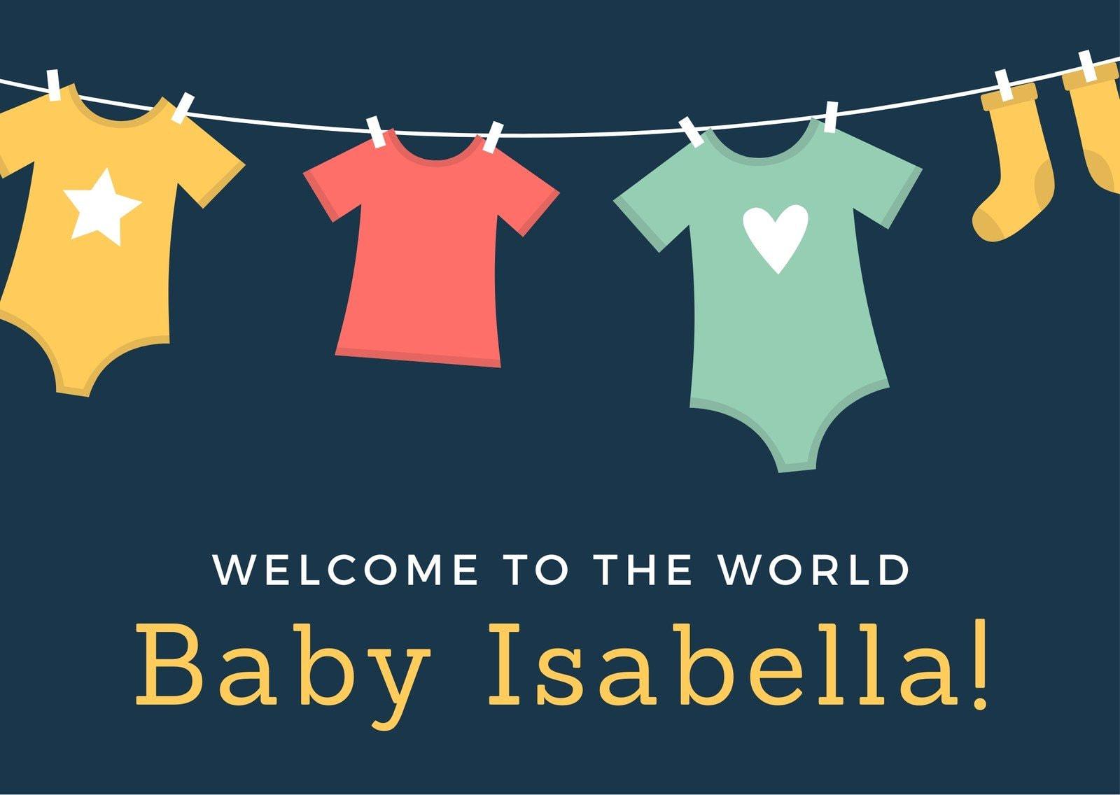 Baby Shower Clothesline Card