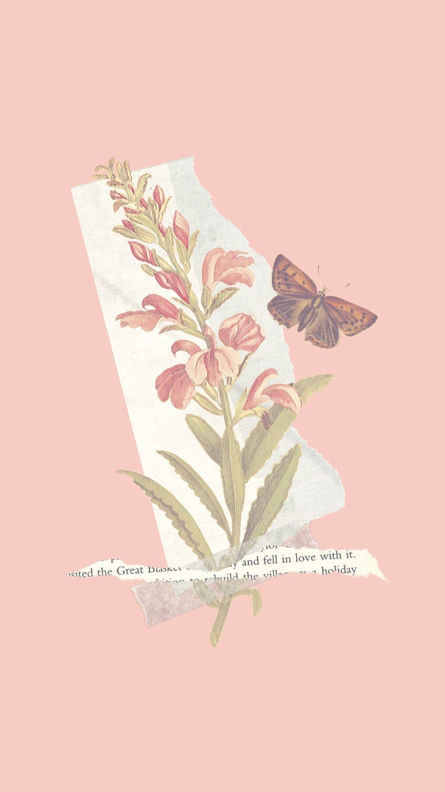 Pink Flower and Butterfly Phone Wallpaper