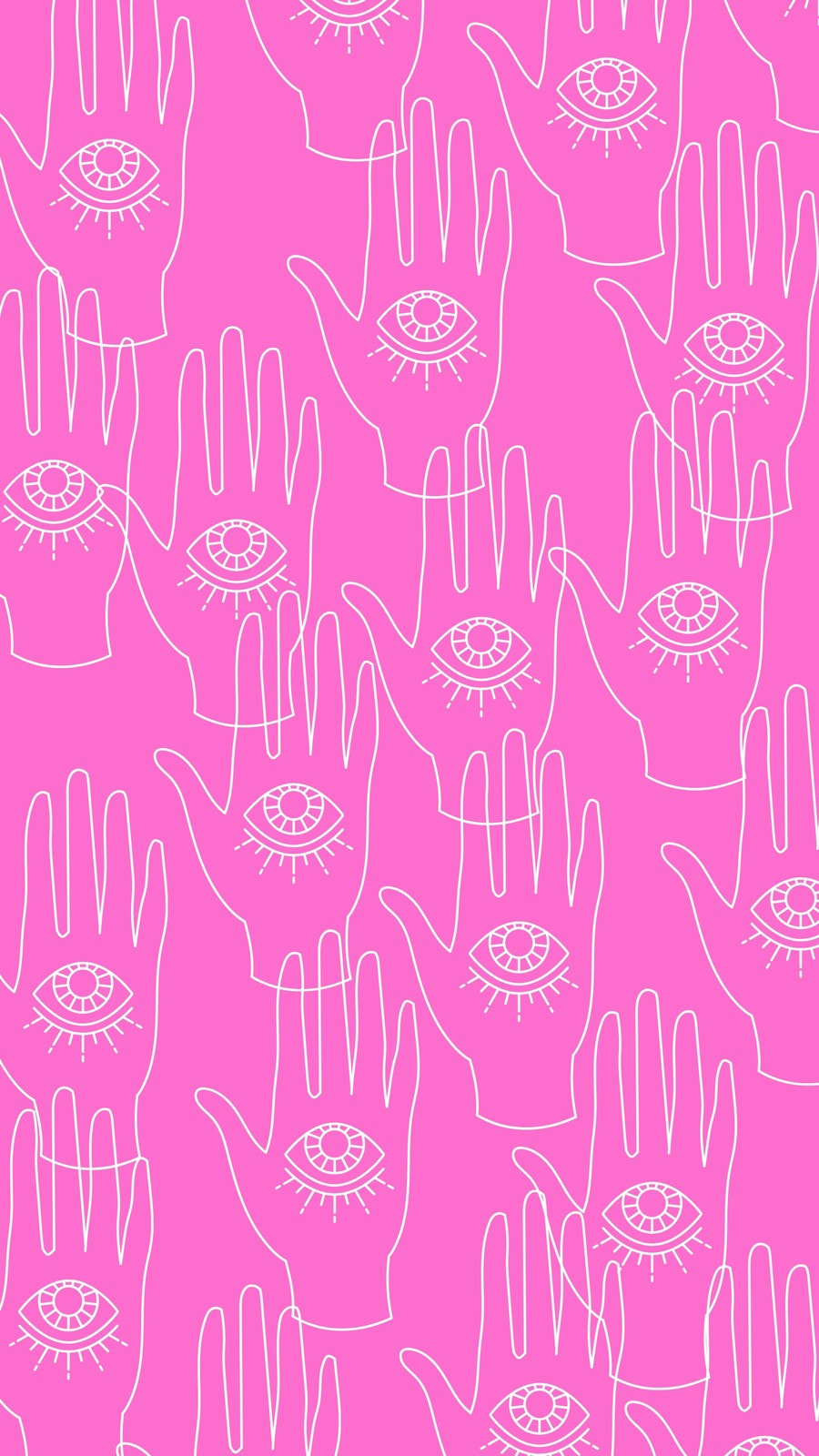Pink White Yellow Retro Hand Pattern Phone Wallpaper