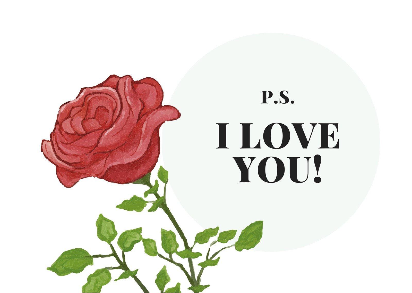 Flower Illustration Love Postcard