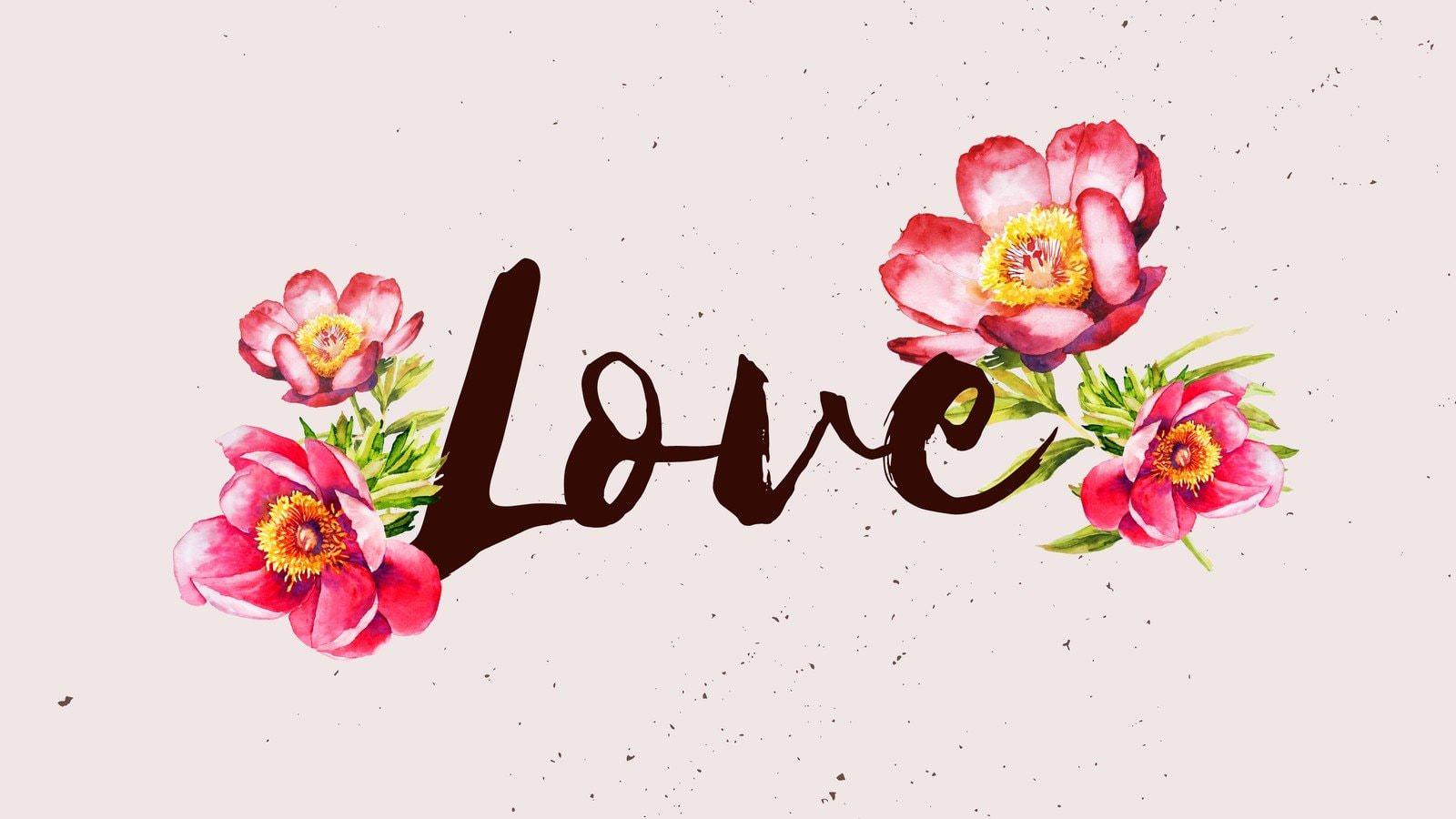 Pink Watercolors Flowers Love Desktop Wallpaper