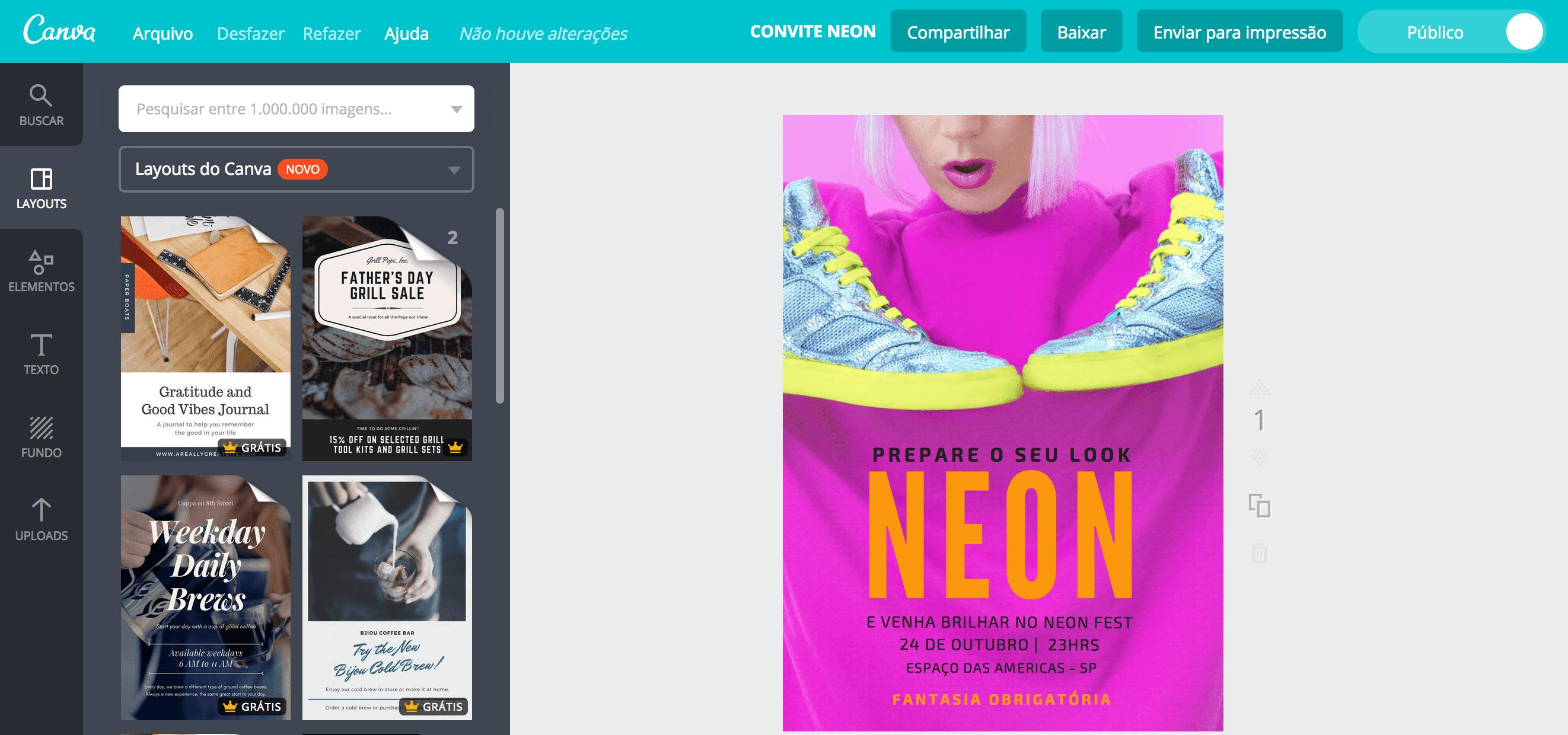 Convite para festa neon