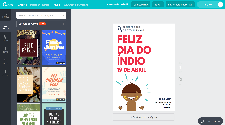 Cartaz dia do índio