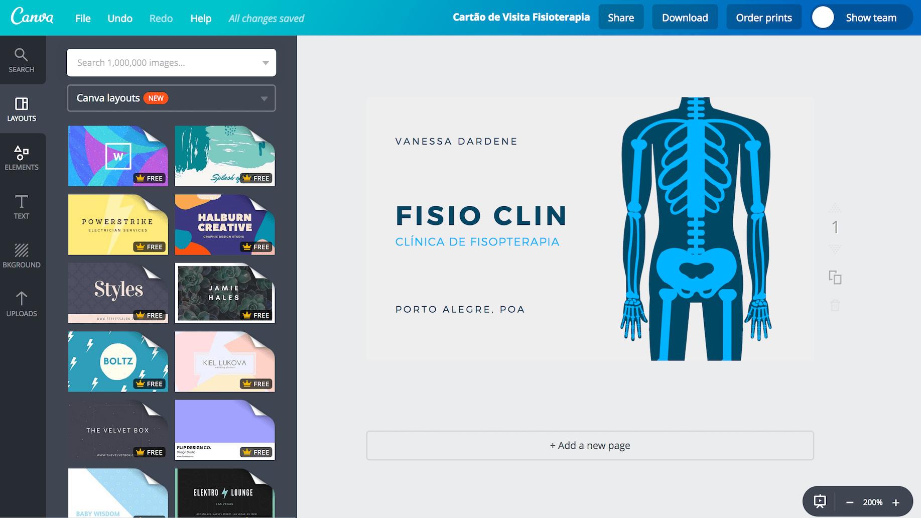 Cartão de visita para fisioterapeuta