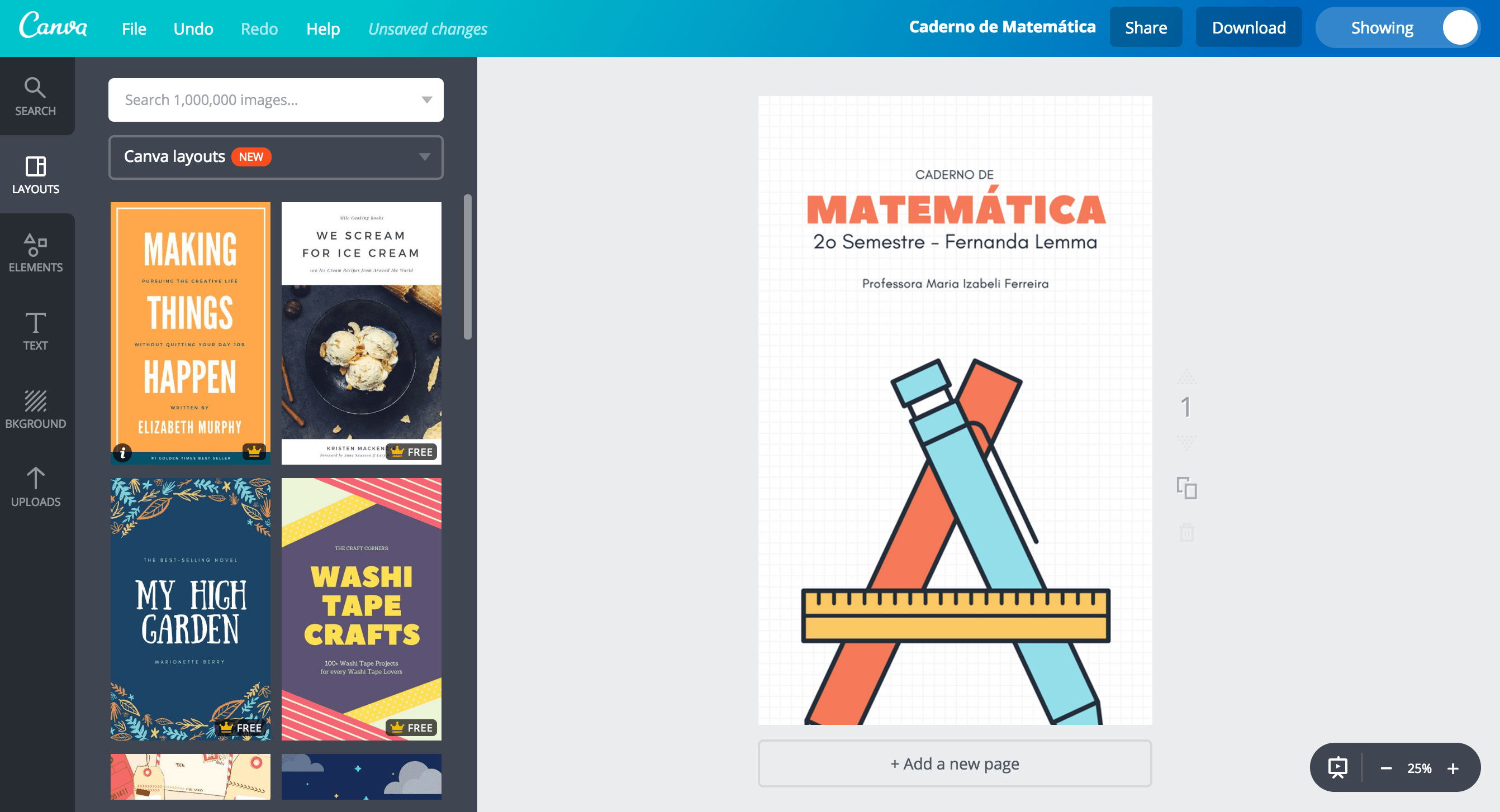 Capa para caderno de matemática