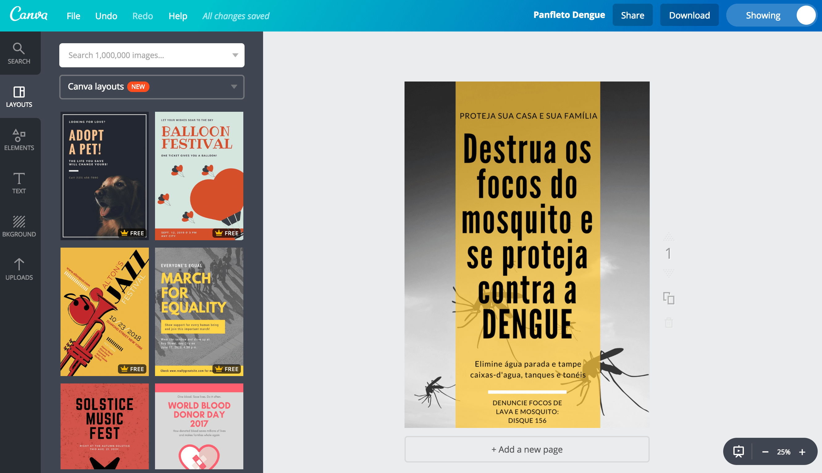 Panfletos sobre a dengue