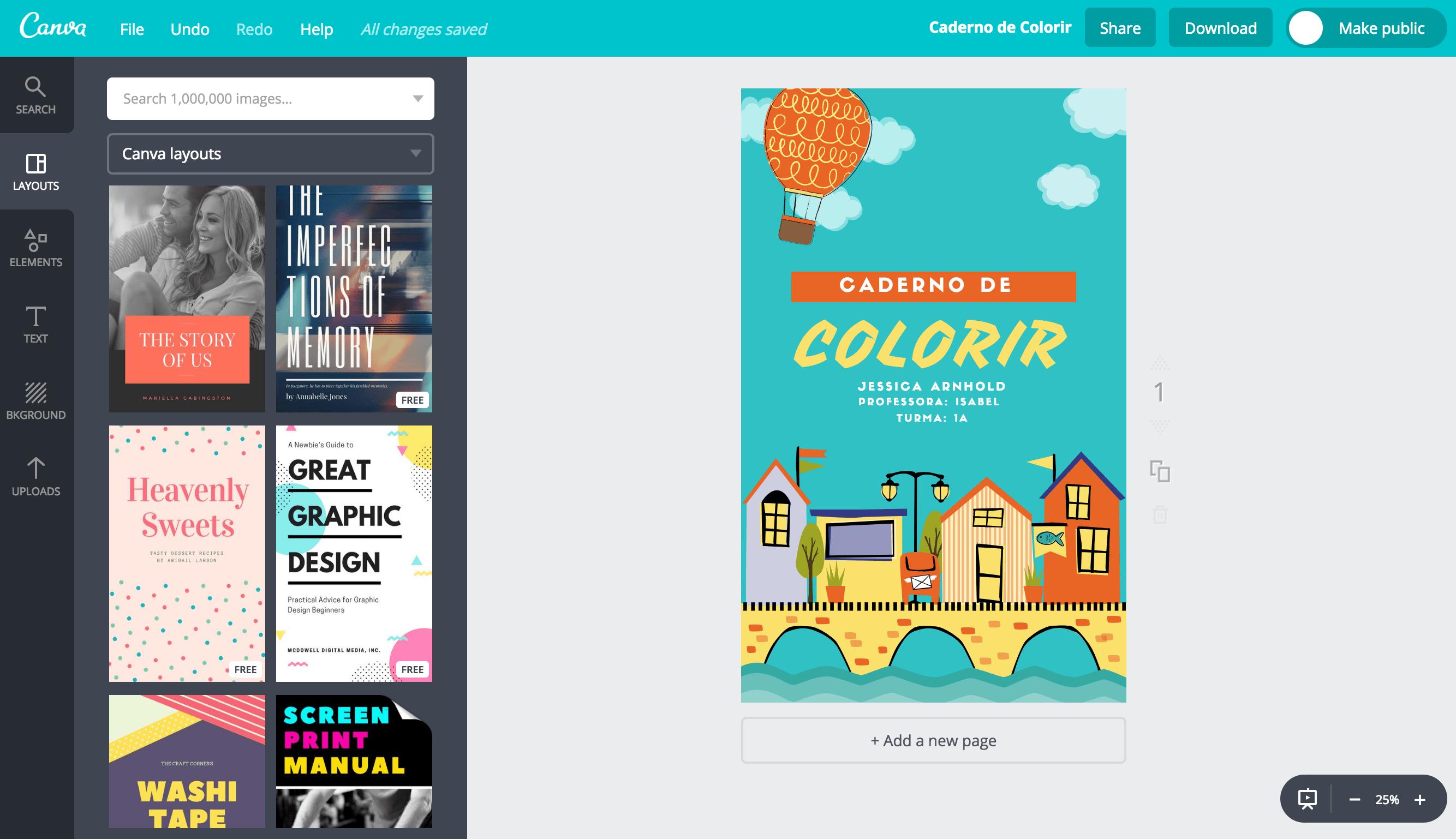 Capa de caderno para colorir