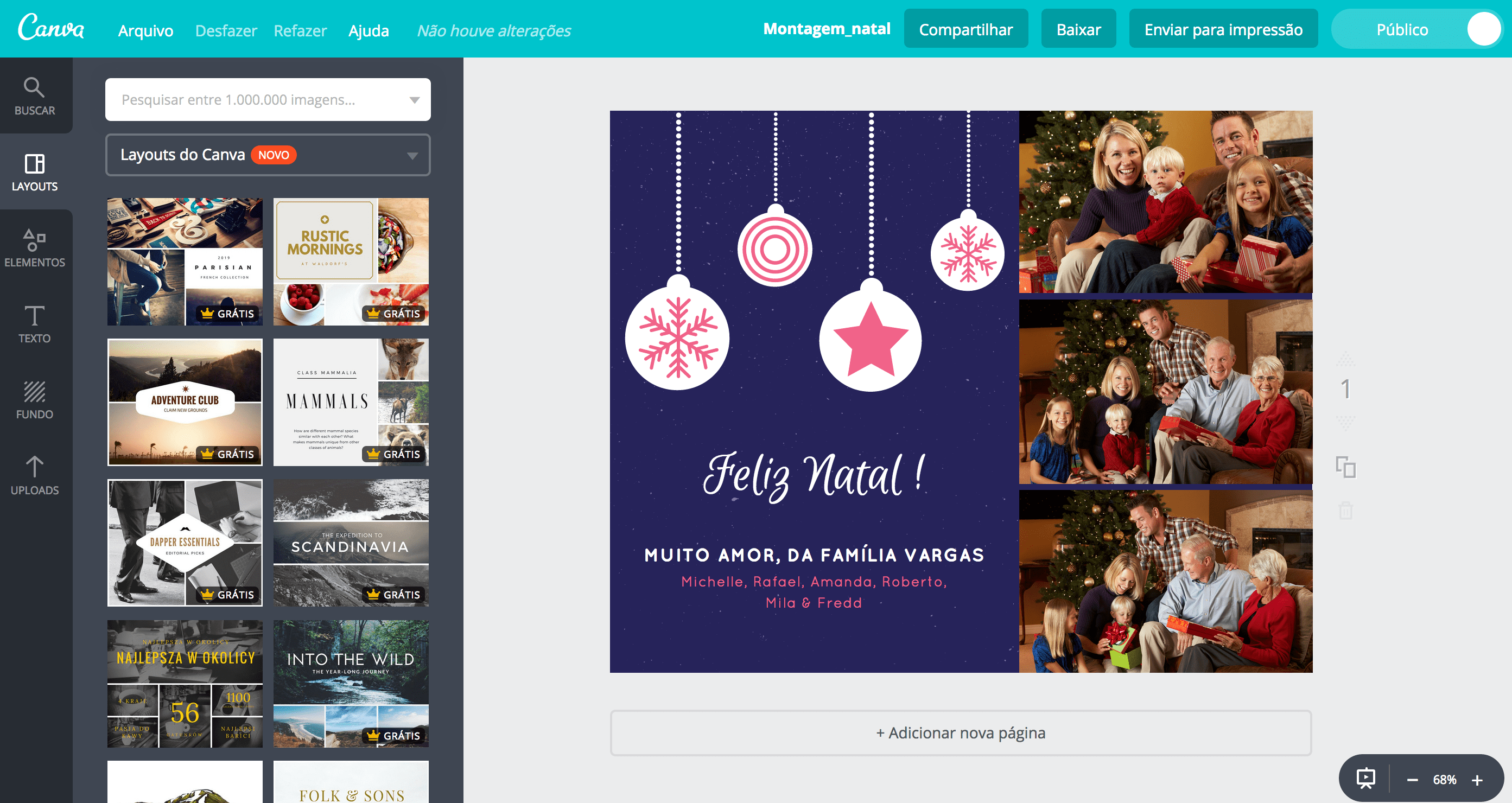 Montagem de fotos de Natal