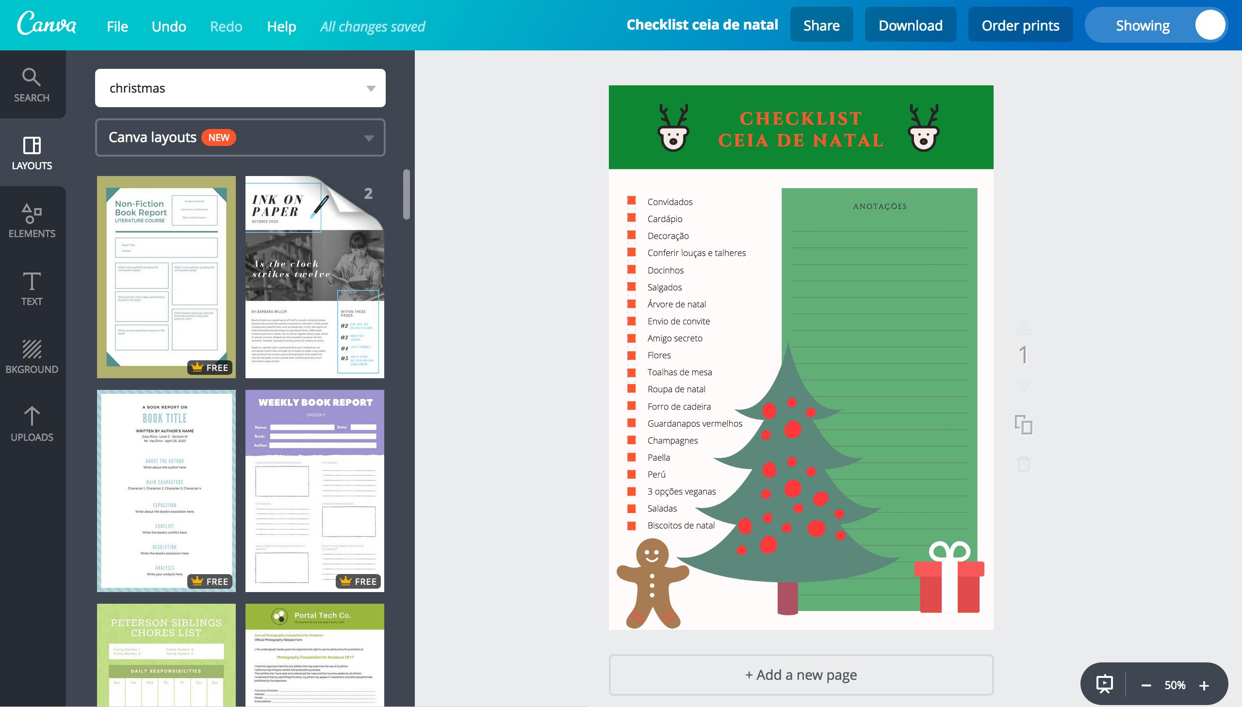 Lista de ceia de Natal