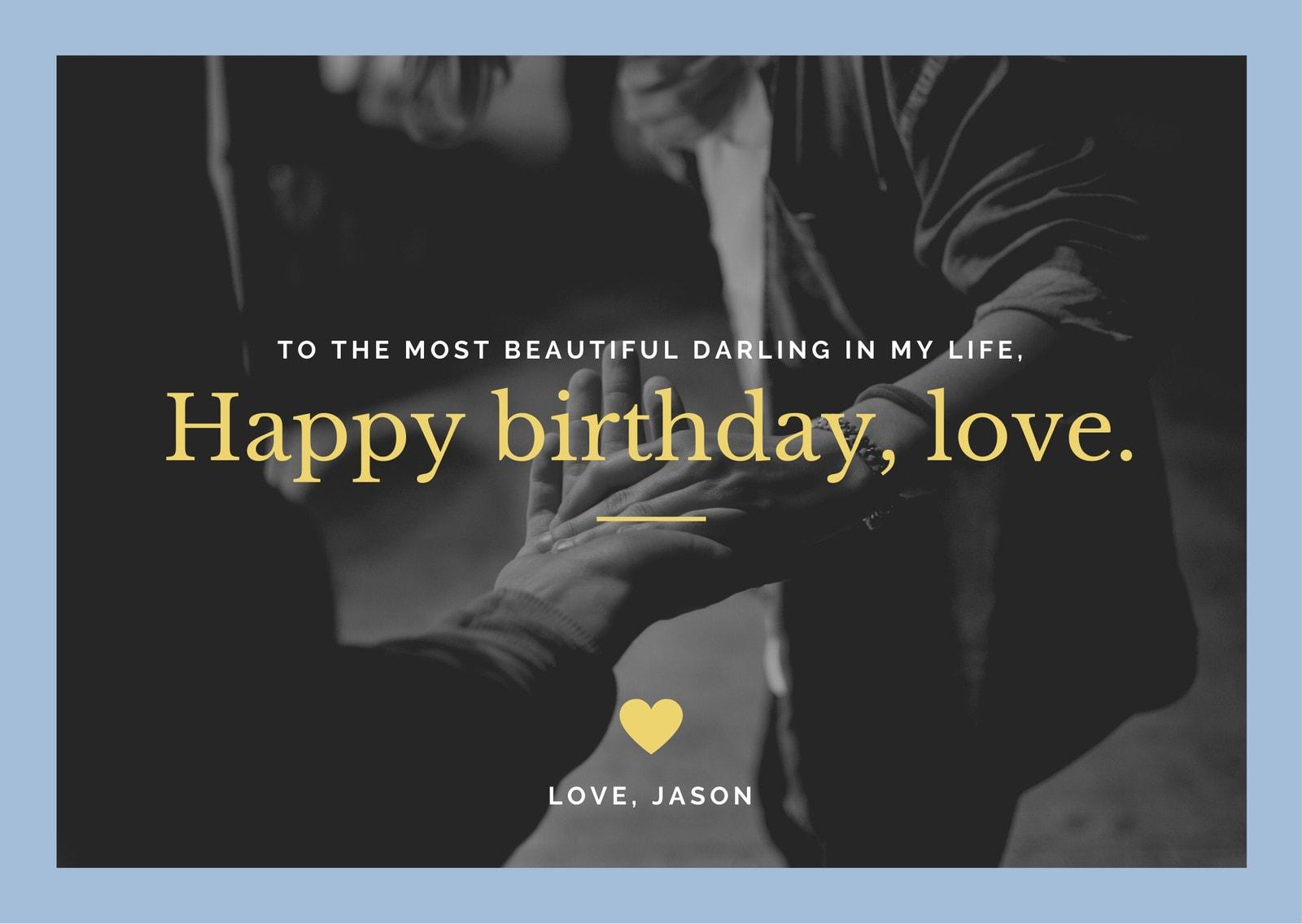Blue and Yellow Photo Girlfriend Birthday Card