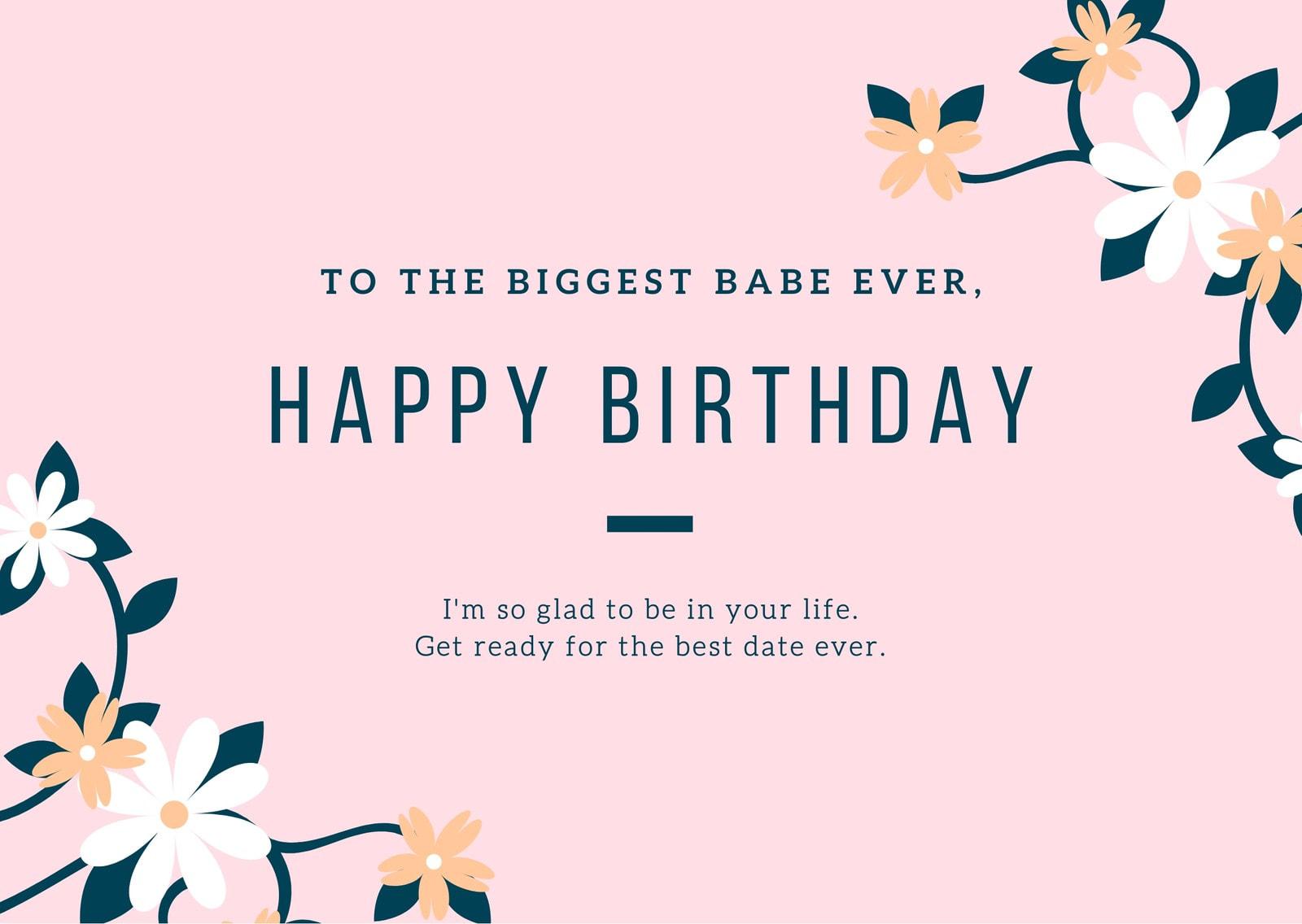 Pink & Dark Blue Floral Girlfriend Birthday Card