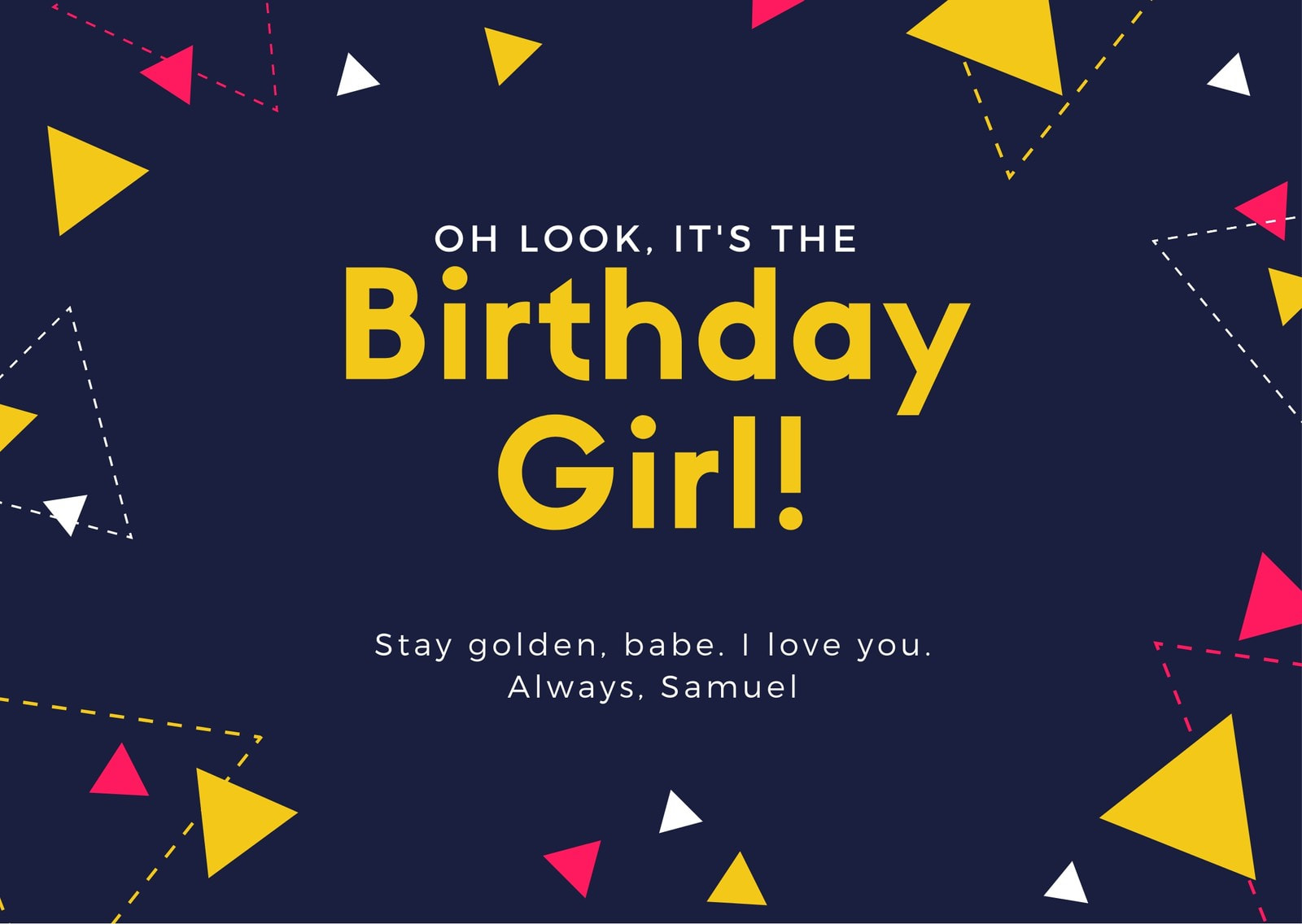 Colorful Triangles Girlfriend Birthday Card